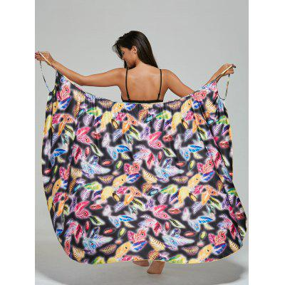 Convertible Feather Print Wrap Sarong Cover-Up Dress