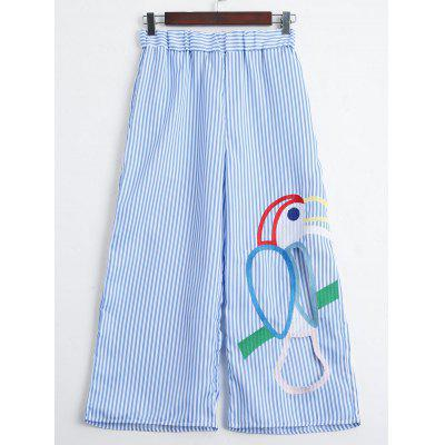 Striped Cut Out Embroidered Wide Leg Pants
