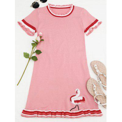 Ruffles Embroidered Knitted Mini Dress