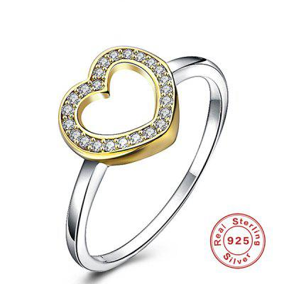 Rhinestone Heart Sterling Silver Ring