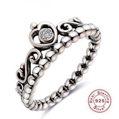 Sterling Silver Rhinestone Heart Beaded Ring