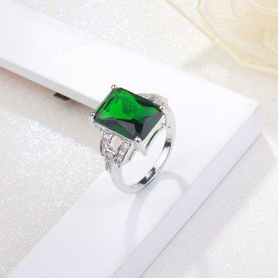 Faux Emerald Rhinestone Geometric Finger Ring
