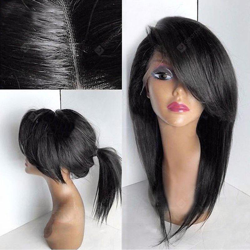 Buy Deep Side Bang Long Straight Lace Front Synthetic Wig BLACK