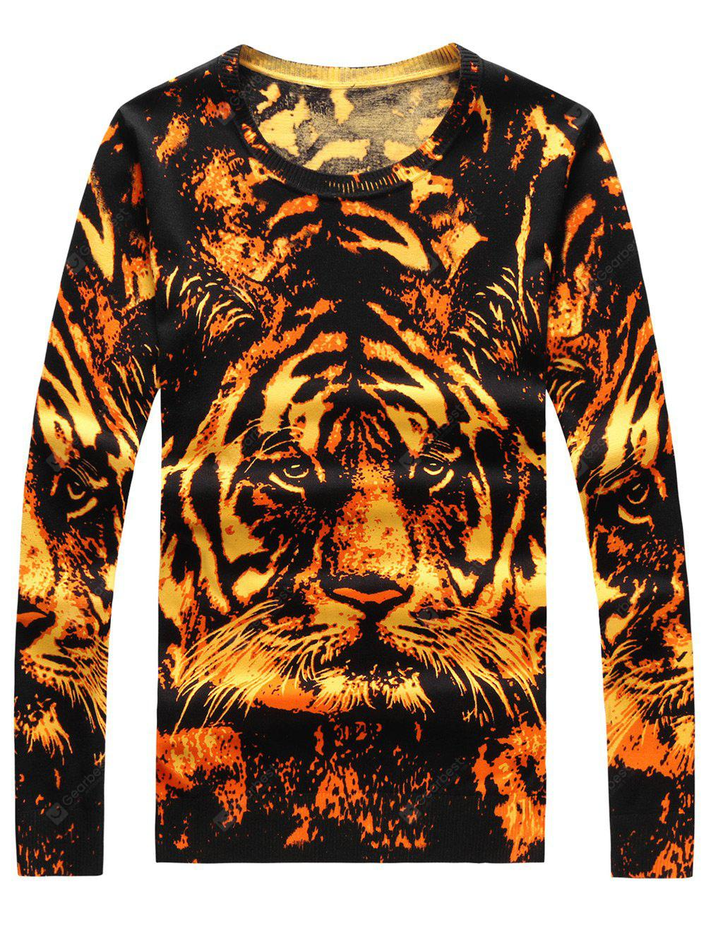 Crew Neck 3D Tiger Print Long Sleeve Sweater