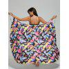 Convertible Feather Print Wrap Sarong Cover-Up Dress - COLORMIX