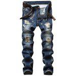 Pantaloni Denim Distressed con zip - BLU DENIM
