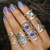 Faux Gem Engraved Moon Geometric Ring Set - SILVER