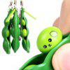 1 PC Squeeze Beans Anti Stress Toy with Keychain - GREEN