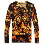 Crew Neck 3D Tiger Print Long Sleeve Sweater - COLORMIX