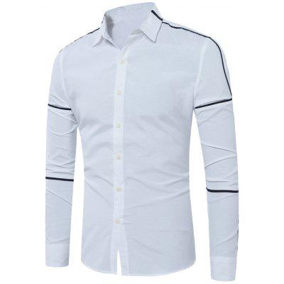 Long Sleeve Contrast Trim Insert Shirt