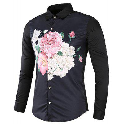 Color Block Long Sleeve Floral Shirt