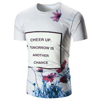Crew Neck Floral Print Graphic Tee
