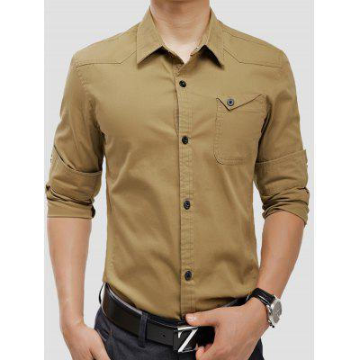 Buy KHAKI Turndown Collar Panel Design Pocket Cargo Shirt for $28.93 in GearBest store