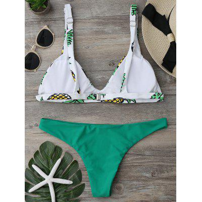 High Cut Pineapple Print Bikini SetWomens Swimwear<br>High Cut Pineapple Print Bikini Set<br><br>Bra Style: Padded<br>Elasticity: Micro-elastic<br>Gender: For Women<br>Material: Polyester, Spandex<br>Neckline: Spaghetti Straps<br>Package Contents: 1 x Bra  1 x Panties<br>Pattern Type: Print<br>Support Type: Wire Free<br>Swimwear Type: Bikini<br>Waist: Natural<br>Weight: 0.1900kg