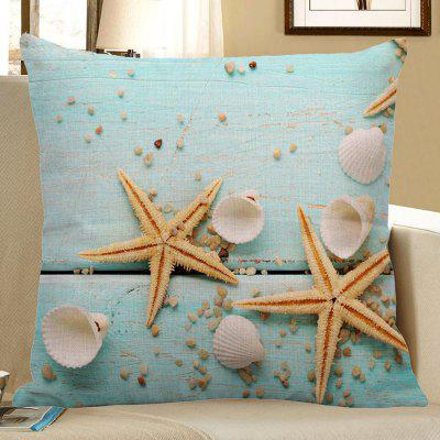 Starfish Sea Shell Print Linen Pillow Case