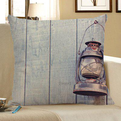Oil Lamp Wood Grain Print Linen Pillow Case