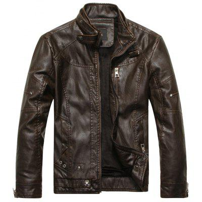 Stand Collar Fleece PU Leather Zip Up Jacket