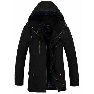 Slim Fit Snap Button Zipper Hooded Coat