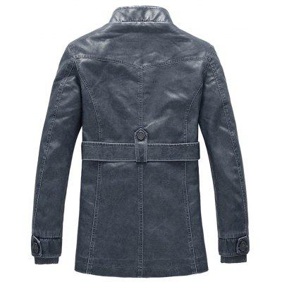 Stand Collar Rib Panel Epaulet Fleece PU Leather Coat with BeltMens Jackets &amp; Coats<br>Stand Collar Rib Panel Epaulet Fleece PU Leather Coat with Belt<br><br>Clothes Type: Leather &amp; Suede<br>Collar: Stand Collar<br>Material: Cotton, Faux Leather<br>Package Contents: 1 x Coat<br>Season: Winter<br>Shirt Length: Long<br>Sleeve Length: Long Sleeves<br>Style: Fashion, Casual<br>Weight: 1.2500kg
