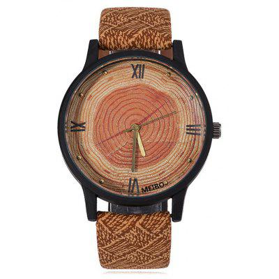 Wood Growth Rings Face Faux Leather Watch