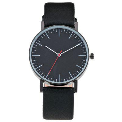 Buy BLACK Faux Leather Band Minimalist Round Watch for $7.42 in GearBest store