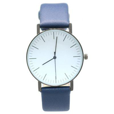 Buy BLUE Faux Leather Band Minimalist Round Watch for $7.42 in GearBest store