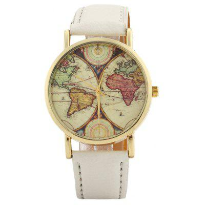 Faux leather strap world map face watch 495 online shopping faux leather strap world map face watch gumiabroncs Gallery