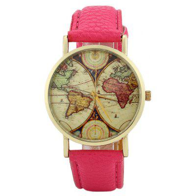 Buy TUTTI FRUTTI Faux Leather Strap World Map Face Watch for $5.17 in GearBest store
