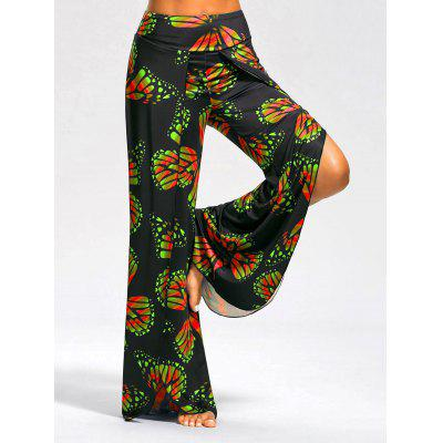 Buy RED AND GREEN L High Slit Butterfly Print Palazzo Pants for $19.39 in GearBest store