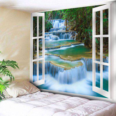 Buy GREEN Window Scenery Print Wall Hanging Tapestry for $17.23 in GearBest store