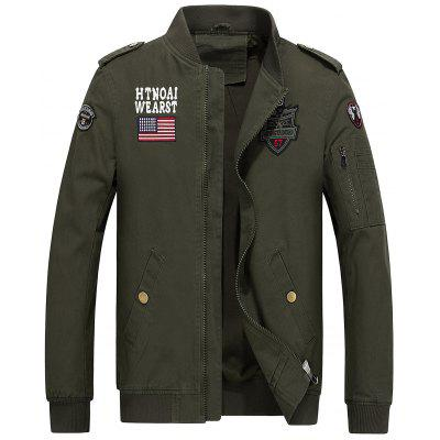 Zip Up Flag and Shark Embroider Jacket