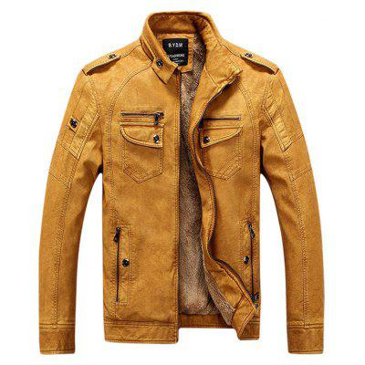 Gearbest Epaulet Zip Up Pockets Fleece PU Leather Jacket