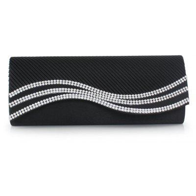 Buy BLACK Satin Pleated Rhinestone Evening Bag for $20.78 in GearBest store