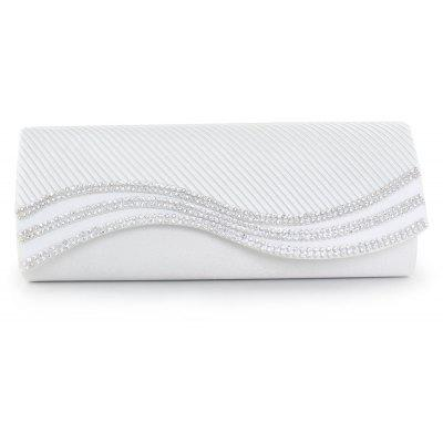 Buy WHITE Satin Pleated Rhinestone Evening Bag for $20.78 in GearBest store