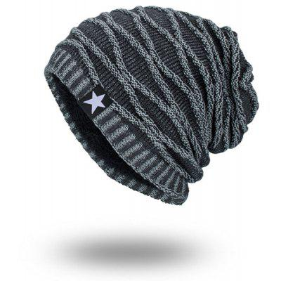 Velvet Lining Wave Striped Knitted Beanie tiny rivet embellished knitting beanie