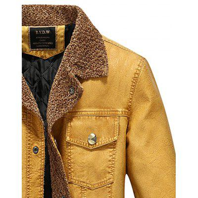 Turndown Collar Padded Faux Leather JacketMens Jackets &amp; Coats<br>Turndown Collar Padded Faux Leather Jacket<br><br>Clothes Type: Leather &amp; Suede<br>Collar: Turn-down Collar<br>Material: Cotton, Faux Leather<br>Package Contents: 1 x Jacket<br>Season: Winter<br>Shirt Length: Regular<br>Sleeve Length: Long Sleeves<br>Style: Fashion, Casual<br>Weight: 0.9200kg