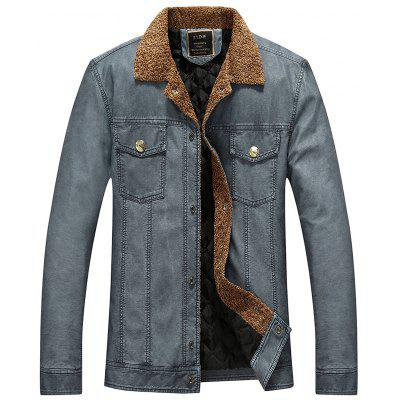 Gearbest Turndown Collar Padded Faux Leather Jacket