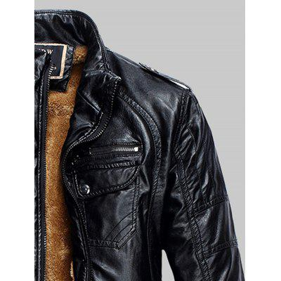 Epaulet Zip Up Pockets Fleece PU Leather JacketMens Jackets &amp; Coats<br>Epaulet Zip Up Pockets Fleece PU Leather Jacket<br><br>Clothes Type: Leather &amp; Suede<br>Collar: Stand Collar<br>Material: Cotton, Faux Leather<br>Package Contents: 1 x Jacket<br>Season: Winter<br>Shirt Length: Regular<br>Sleeve Length: Long Sleeves<br>Style: Fashion, Casual<br>Weight: 1.1690kg