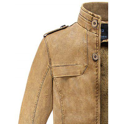 Rib Panel Stand Collar Longline Faux Leather Fleece CoatMens Jackets &amp; Coats<br>Rib Panel Stand Collar Longline Faux Leather Fleece Coat<br><br>Clothes Type: Leather &amp; Suede<br>Collar: Stand Collar<br>Material: Cotton, Faux Leather<br>Package Contents: 1 x Coat<br>Season: Winter<br>Shirt Length: Long<br>Sleeve Length: Long Sleeves<br>Style: Fashion, Casual<br>Weight: 1.1800kg