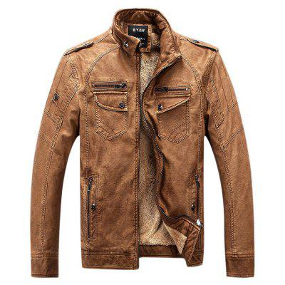 Epaulet Zip Up Pockets Fleece PU Leather Jacket
