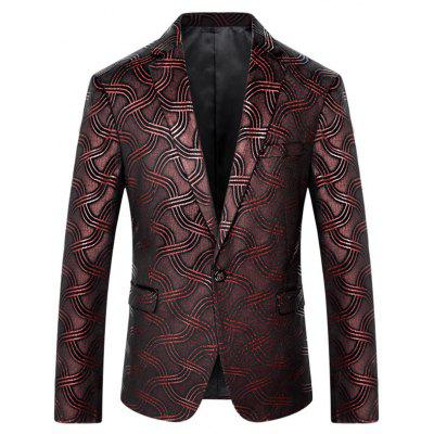 Net Pattern One Button Blazer