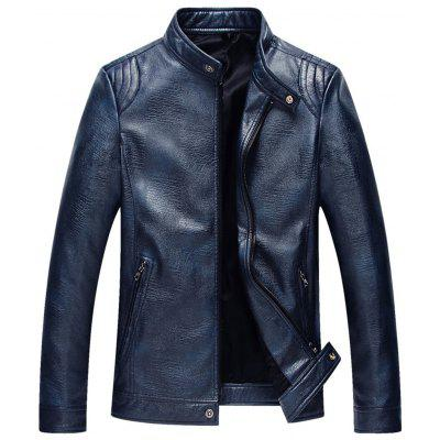 Stand Collar Slim Fit Faux Leather Jacket