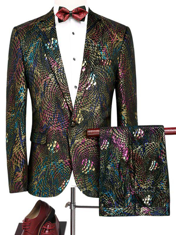 Colorful Scales Pattern Blazer and Pants Twinset