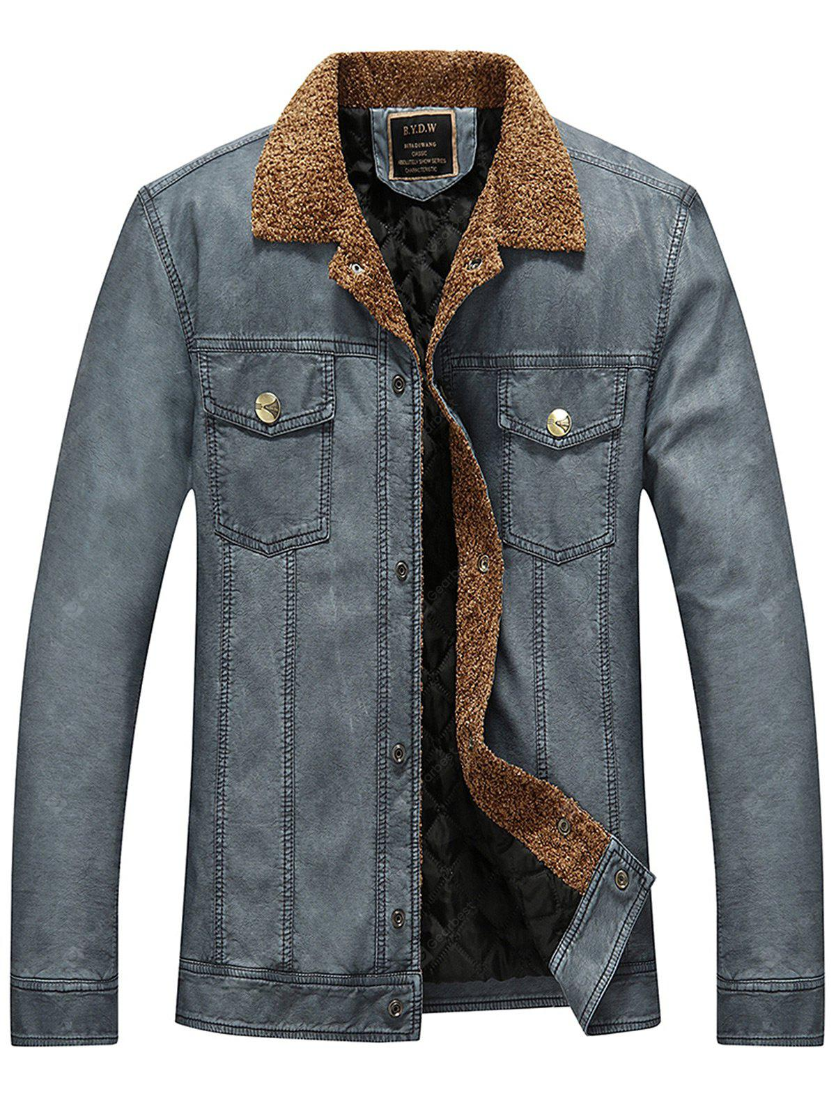 Turndown Collar Padded Faux Leather Jacket