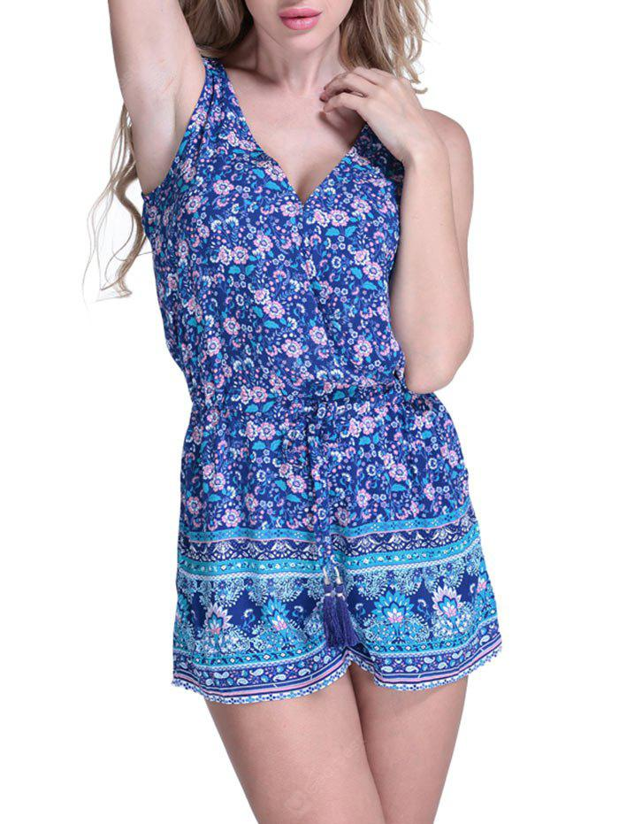 Drawstring Waist Floral Cover Up Romper