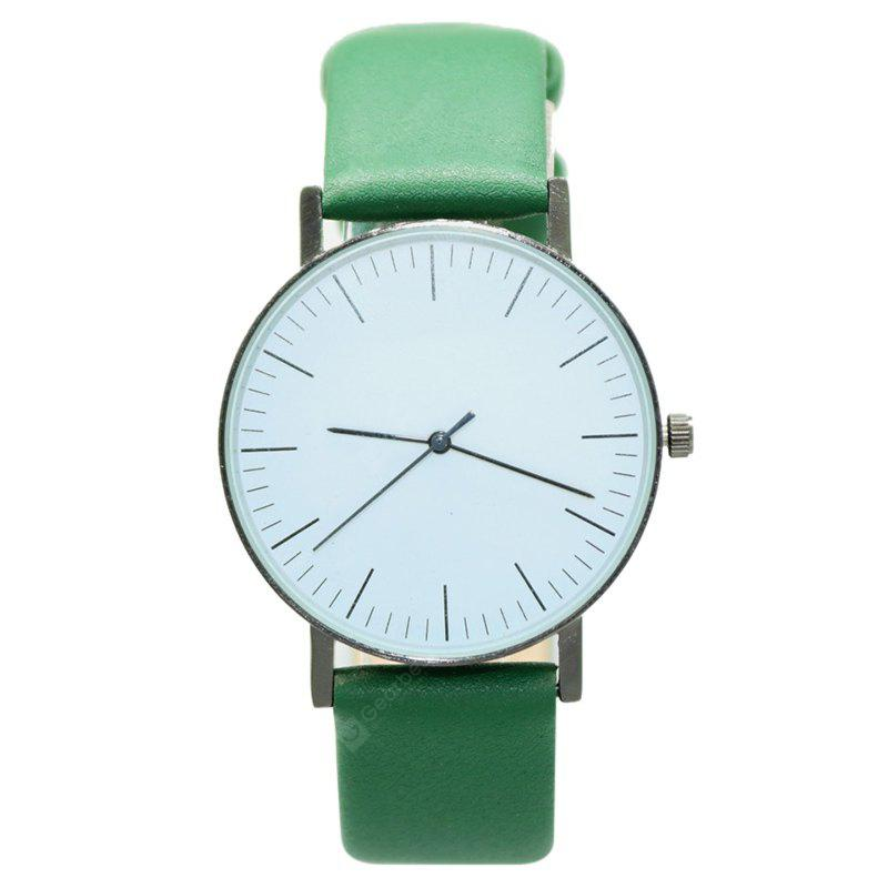 GREEN Faux Leather Band Minimalist Round Watch