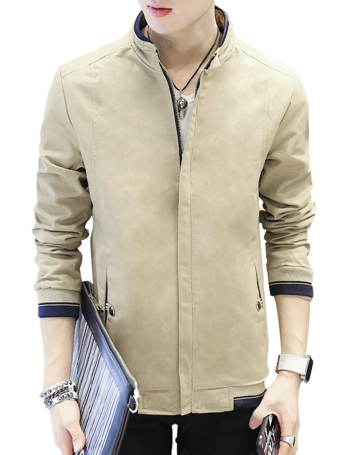 Slimming Stand Collar Casual Jacket