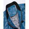 Stand Collar Knitting Panel Elbow Patch Wadded Jacket - BLUE
