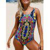 Printed Lace Up One Piece Swimsuit - COLORMIX