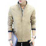Slimming Stand Collar Casual Jacket - LIGHT KHAKI